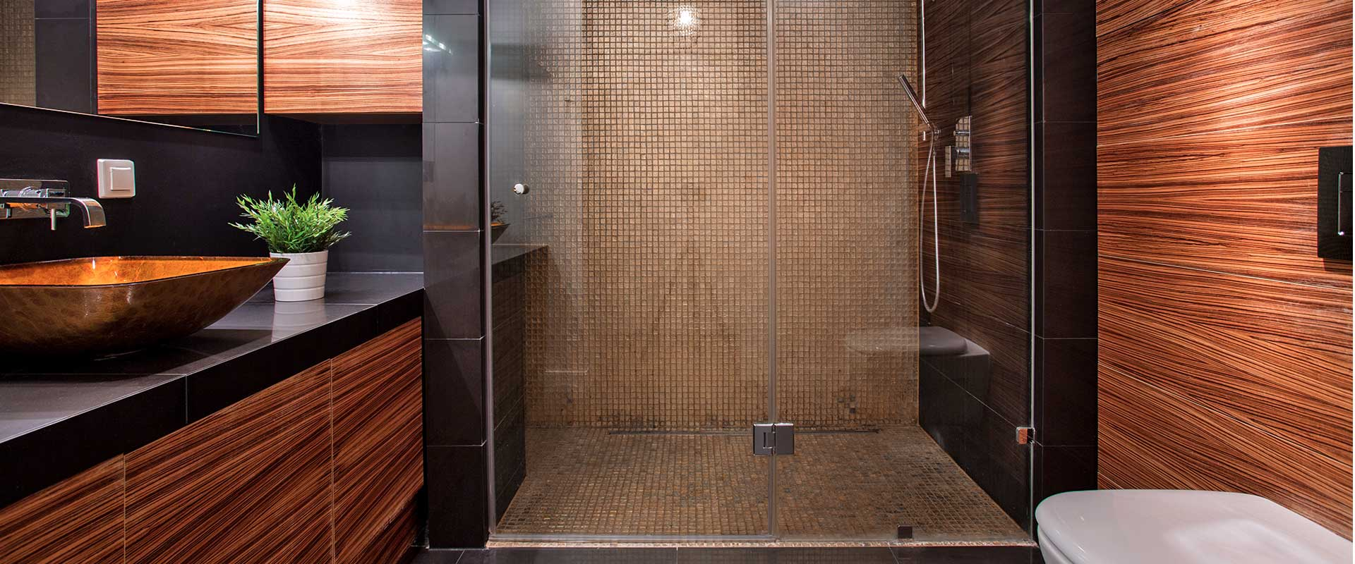 Modern bathroom with wood paneling and dark granite wall tiles and brown shower tiles